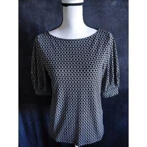 H&M Black & White Geometric Poof Sleeve Top S
